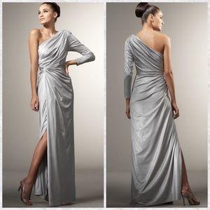 Make Offer Tadashi Shoji One Sleeve Ruched Gown